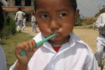 Bhattedande school serious brushing Nepal