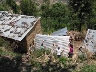 Constructing temporary shelter Bhattedanda