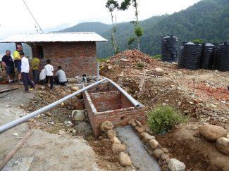 Toilets under construction, SJD school
